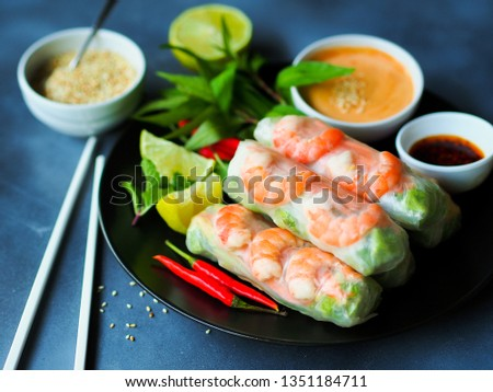 Fresh summer rolls with shrimp and vetgetables,Vietnamese food for healthy food concept. Royalty-Free Stock Photo #1351184711