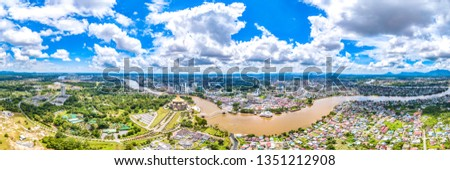 The City of Kuching Aerial View, Capital and the Most Populous City in the State of Sarawak, Malaysia, also a Tourism Destination on Borneo Island Famous for MultiCulture and Wildlife #1351212908