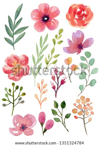 Bright watercolor flowers and leaves - great for wedding decoration, invitation cards and more.