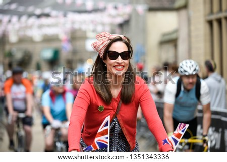 Bakewell, Derbyshire, UK, June 19th 2016. Eroica Britannia vintage cycling event took place today around the picturesque town of Bakewell and the Peak District.  #1351343336