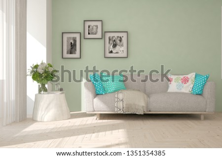 Stylish room in white color with sofa. Scandinavian interior design. 3D illustration #1351354385