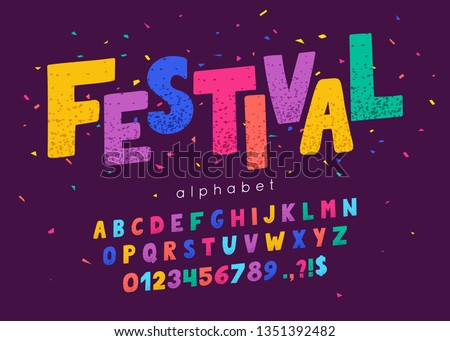 Vector font and alphabet. Abc, english letters and numbers. Festival Royalty-Free Stock Photo #1351392482