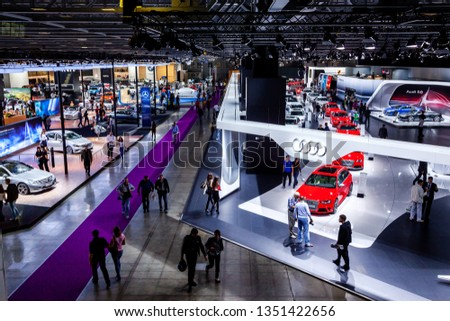 MOSCOW, RUSSIA - SEPT 4, 2012: Top view of exhibition stands and visitors on automotive transport exhibition Moscow International Automobile Salon MMAS 2018. MIAS in Crocus Expo motor show #1351422656