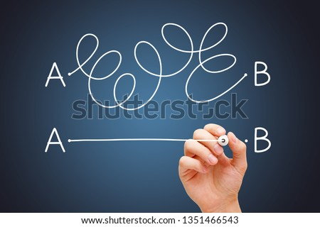Hand drawing a conceptual diagram about the importance to find the shortest way to go from point A to point B, or a simple solution to a problem.  #1351466543