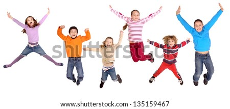 litte kids jumping isolated in white #135159467
