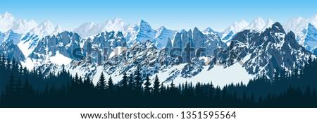 vector karakoram himalayan mountains   with forest panorama Royalty-Free Stock Photo #1351595564