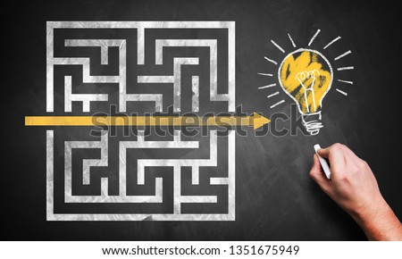 hand drawing a shortcut through a maze to an idea on a chalkboard Royalty-Free Stock Photo #1351675949