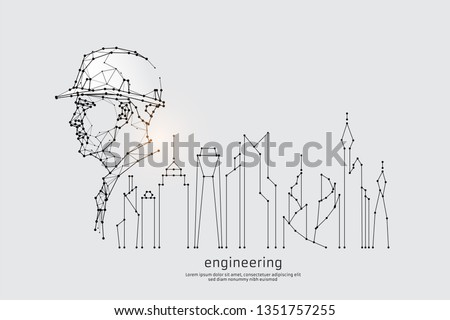The particles, geometric art, line and dot of engineering. abstract vector illustration. graphic design concept of construction. - line stroke weight editable Royalty-Free Stock Photo #1351757255