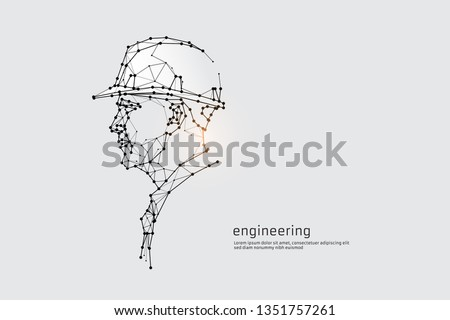 The particles, geometric art, line and dot of engineering. abstract vector illustration. graphic design concept of construction. - line stroke weight editable Royalty-Free Stock Photo #1351757261