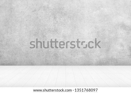 Empty of interior decoration perspective from white wooden texture floor and modern bright with black and white distress concrete of architecture building structure background. #1351768097
