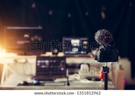 Editor content creator desktop house studio and gear  camera laptop computer
