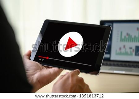 VIDEO MARKETING Audio Video , market Interactive channels , Business advert Technology innovation Marketing advertising technology concept blog #1351813712