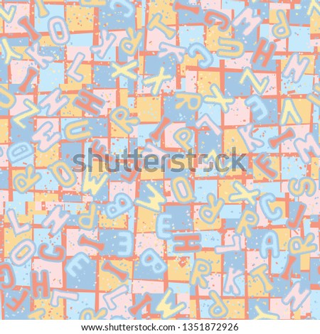 Seamless texture. Latin alphabet on an abstract background. #1351872926