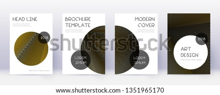 Trendy brochure design template set. Gold abstract lines on black background. Bewitching brochure design. Powerful catalog, poster, book template etc. #1351965170