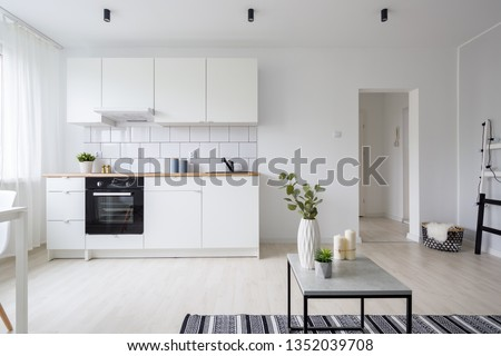 Modern and stylish studio apartment in white with functional kitchenette #1352039708