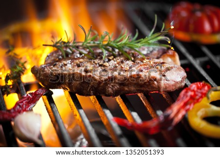 Beef Steak On Grill With Rosemary Pepper And Salt - Barbecue  #1352051393
