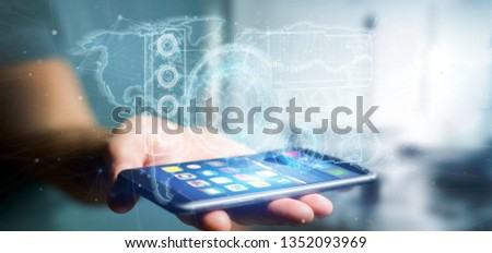 View of a Man holding a Technology interface 3d rendering #1352093969