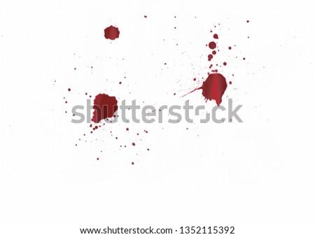 Blood splatters on white background #1352115392