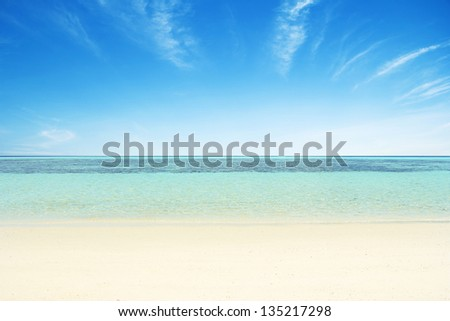 Beaches, crystal clear water, blue sky as background. #135217298