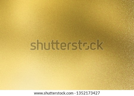 Abstract texture background, reflection polished gold stainless sheet #1352173427
