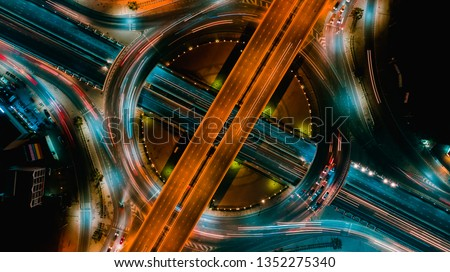 Highway top view, Road traffic an important infrastructure  #1352275340