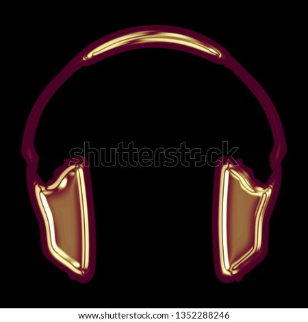 Shiny colorful golden red headphones icon music and audio symbol in a 3D illustration with a glossy gold red color and smooth surface isolated on a black background with clipping path