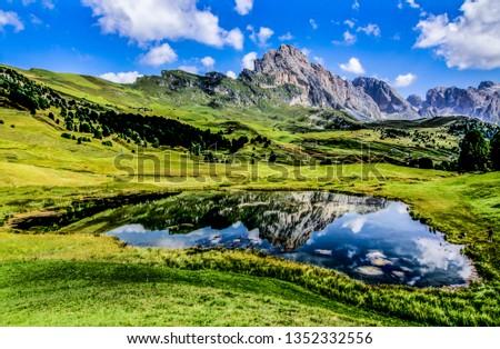 dolomites alpine lake #1352332556