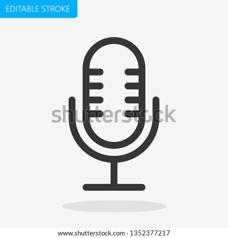 Microphone Icon Editable Stroke. Pixel Perfect Vector
