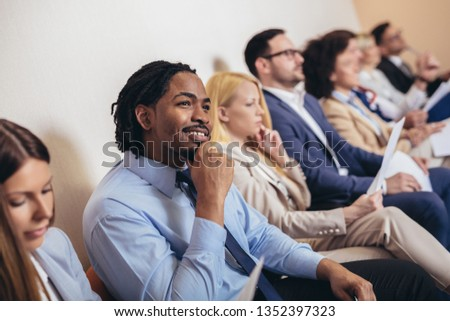 Photo of candidates waiting for a job interview. Selective focus #1352397323