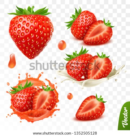 3d realistic transparent isolated vector set, whole and slice of strawberry, strawberry in a splash of juice with drops, strawberry in a splash of milk or yogurt #1352505128