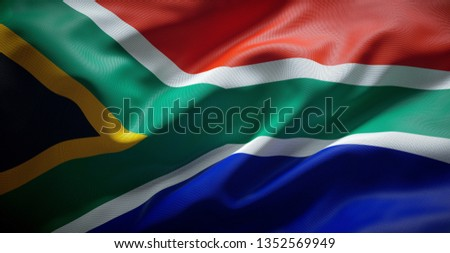 South African flag. South Africa. Royalty-Free Stock Photo #1352569949