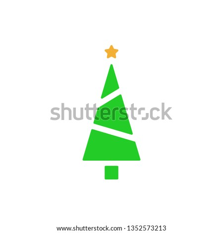 Christmas tree - flat vector icon. Christmas tree silhouette. Fir tree simple vector illustration isolated on white background #1352573213