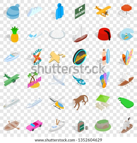Miami beach icons set. Isometric style of 36 miami beach icons for web for any design #1352604629