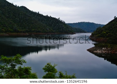 The Stanislaus River at the Parrott's Ferry Bridge.  Royalty-Free Stock Photo #1352641196