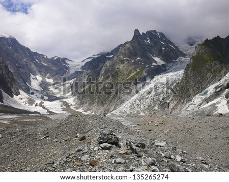 High mountains in the Mont Blanc complex, Val Veny, Alps Mounta #135265274