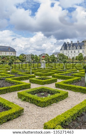 Traditional french garden. Ornamental Garden. Chateau de Villandry is a castle-palace located in Villandry, in department of Indre-et-Loire, France. He is a world known for its amazing gardens. #135271463