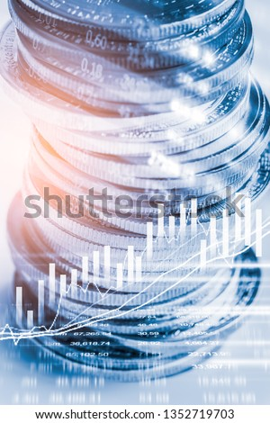 Stock market or forex trading graph and candlestick chart suitable for financial investment concept. Economy trends background for business idea and all art work design. Abstract finance background. #1352719703