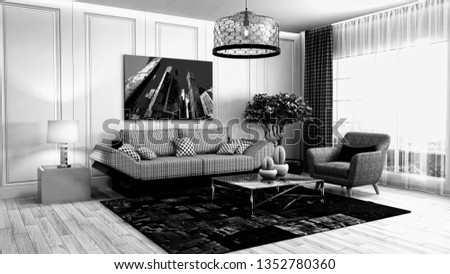 Interior of the living room. 3D illustration #1352780360