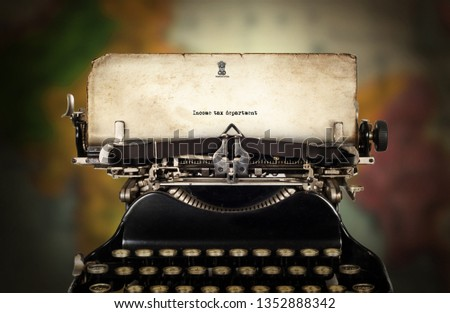 Vintage type writing typed income tax department #1352888342