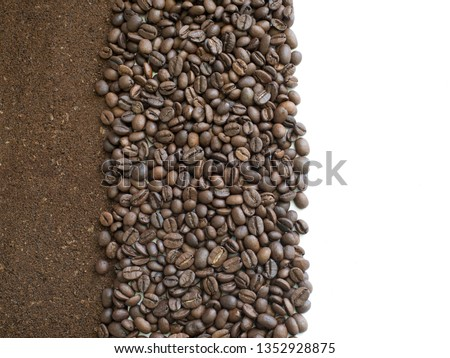 Ground and grain coffee with free white space for inscriptions. Card with brown background of ground coffee beans. Ground, tobacco brown flakes #1352928875