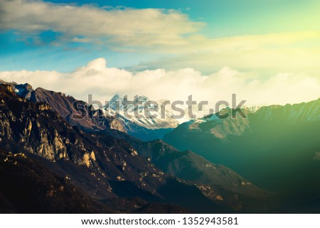 beautiful mountain landscape at dawn - new day concept #1352943581