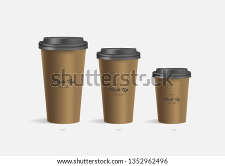 3 brown coffee cups mockup on grey background. Cups of different size. Mock up. Mock-up. Coffee away. Coffee to go. Vector branding illustration. #1352962496