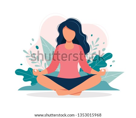 Woman meditating in nature and leaves. Concept illustration for yoga, meditation, relax, recreation, healthy lifestyle. Vector illustration in flat cartoon style #1353015968