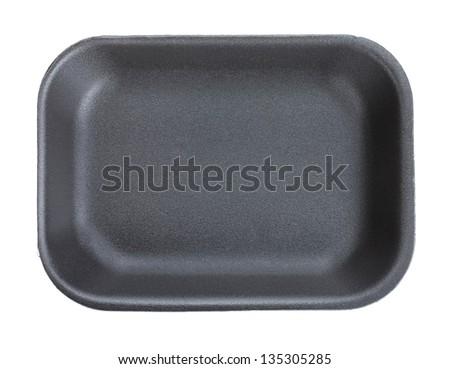 Black empty food tray. Isolated on white background #135305285