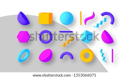 Set of colorful geometric shapes. Elements for design. Isolated vector objects. Royalty-Free Stock Photo #1353066071