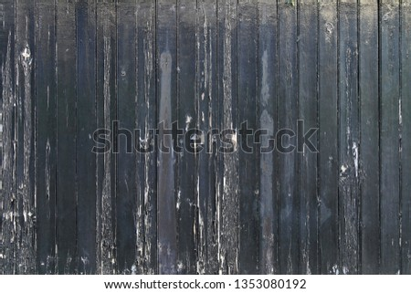 Very Old Decayed Damaged Black Wooden Fence #1353080192