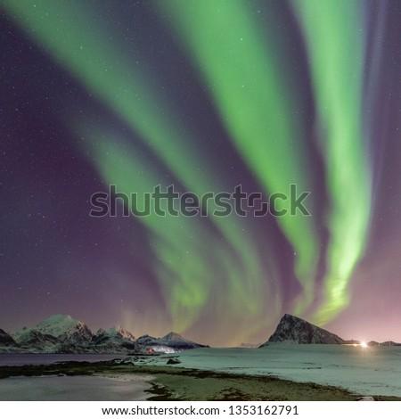 lofoten islands aurora borealis #1353162791