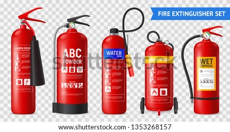 Realistic fire extinguisher set with isolated portable fire-fighting units of different shape on transparent background vector illustration