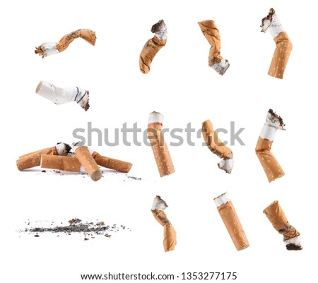 Dirty cigarette buds isolated set #1353277175