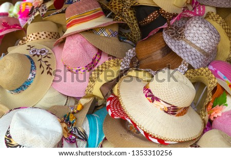 Wide brimmed straw hat ribbon stand colored hats straw-like materials from different plants or synthetics for sale #1353310256